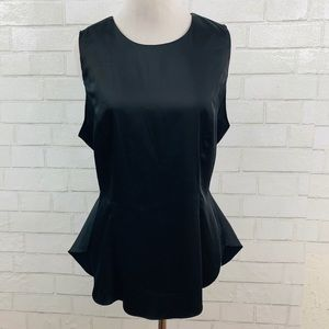 LOVERS + FRIENDS WOMENS BLACK PEPLUM TOP LARGE